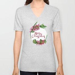 Merry Christmas - An Australian Native Floral Wreath Unisex V-Neck