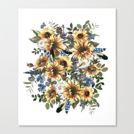 Charming Boho Watercolour Sunflowers Bouquet Canvas Print