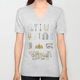 Barcelona with significant buildings Unisex V-Neck