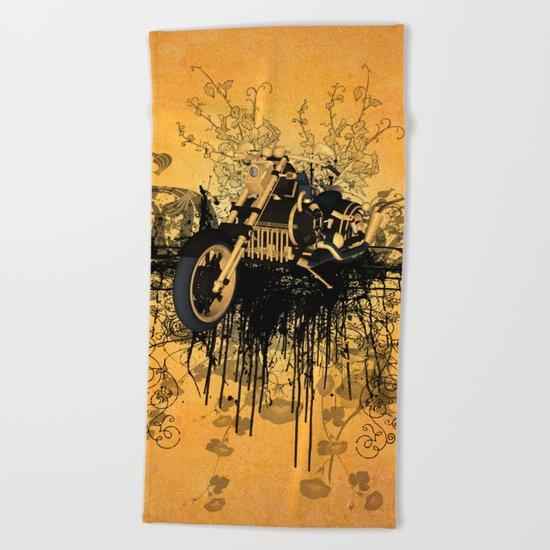 Steam motorcycle Beach Towel