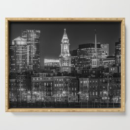 BOSTON Evening Skyline of North End & Financial District | Monochrome Serving Tray