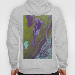 Fluid Art Acrylic Painting, Pour 32, Green, Purple, & Turquoise Blended Color Hoody