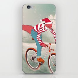 rushing home for christmas iPhone Skin