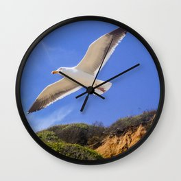 Golden Seagull Wall Clock