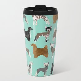 Chinese Crested dog breed variety of coats dog breed dog owner must have gifts for dog person Travel Mug