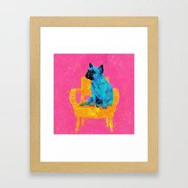 Waiting for human, dog friend Framed Art Print