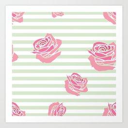 Vintage Rose Pattern on Soft Green Stripe Art Print