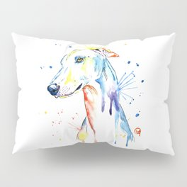 Greyhound Colorful Watercolor Pet Portrait Painting Pillow Sham