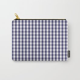 USA Flag Blue Large Gingham Check Plaid Carry-All Pouch