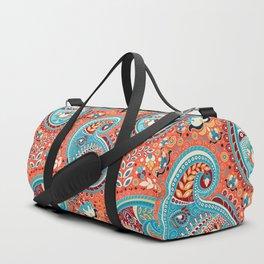 Paisley Pattern Renaissance Teal Orange Duffle Bag