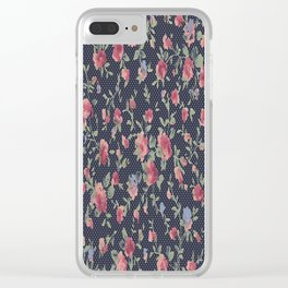 Polka Dotted Rosebuds Clear iPhone Case
