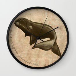 North Atlantic Right Whale, Digital Illustration by Amber Marine (Copyright 2015) Wall Clock