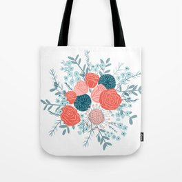 Muted florals on white Tote Bag