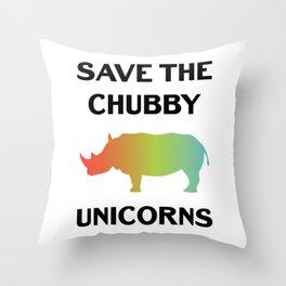 Save The Chubby Unicorns Funny Vintage Retro Rhino Shirt Gift Throw Pillow