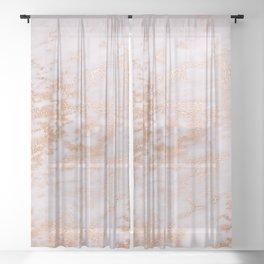 Pastel Lavender Marble Rosegold Glitter Pink Sheer Curtain