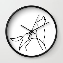 Picasso wolf Art - Minimal wolf Line Drawing Wall Clock