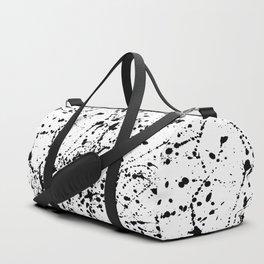 Splat Black on White Duffle Bag