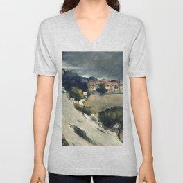 """Paul Cezanne """"Melting Snow At L'Estaque"""" Unisex V-Neck"""