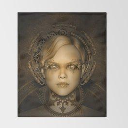 Steampunk female machine Throw Blanket