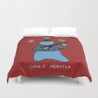 cookie monster Duvet Covers featuring Cookie Mobster by Sophie Corrigan
