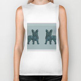Patches French Bulldog Twins Biker Tank