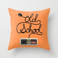 old school Throw Pillows featuring old school by paul nunez
