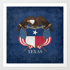 Texas flag and eagle crest - original vintage design by BruceStanfieldArtist Art Print