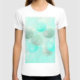 Silver and Mint Blue Christmas Ornaments T-shirt