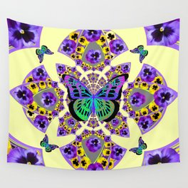 PURPLE  PANSIES & EXOTIC BUTTERFLY GEOMETRIC DESIGN Wall Tapestry
