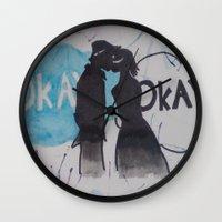okay Wall Clocks featuring Okay.  by Oksana's Art