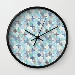 Watercolor cross tiles in light blue and turquoise Wall Clock