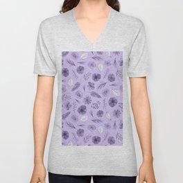 Hand painted violet white watercolor modern floral pattern Unisex V-Neck