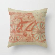 Seaside Bike Ride Throw Pillow