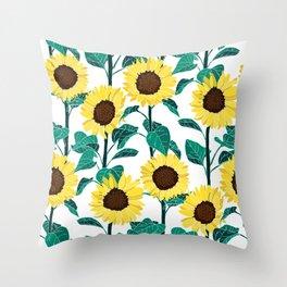 Sunny Sunflowers - White Throw Pillow