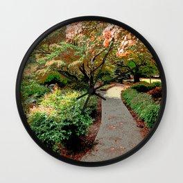 ALONG AN AUTUMN PATH Wall Clock