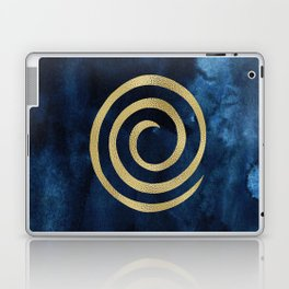 Infinity Navy Blue And Gold Abstract Modern Art Painting Laptop & iPad Skin