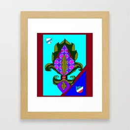 Fancy Royal Fleur de Lis and Shields and Ribbon Framed Art Print