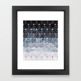 Blue Hexagons And Diamonds Framed Art Print