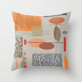 Mid-Century Chaos Throw Pillow