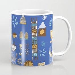 hygge cat and bird blue Coffee Mug