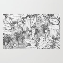 Autumn black white maple leaves bohemian floral pattern Rug