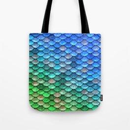 Aqua Teal & Green Shiny Mermaid Glitter Scales Tote Bag