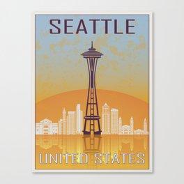 Seattle Vintage Poster Canvas Print