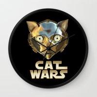 c3po Wall Clocks featuring Cat Wars C3PO by Detullio Pasquale