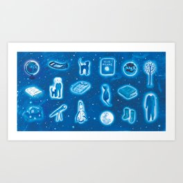 The Boy and the the Blue Moon Art Print