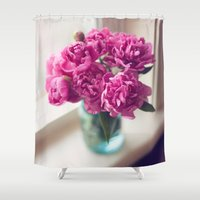 peony Shower Curtains featuring Peony by Jenny Ardell