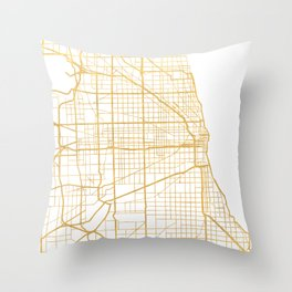 CHICAGO ILLINOIS CITY STREET MAP ART Throw Pillow