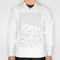 grid Hoodies featuring Abstract Outline Grid Grey by Project M