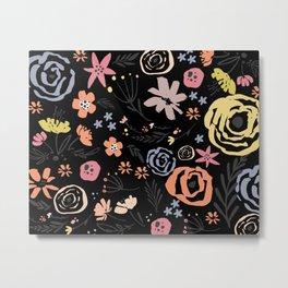Floral Collage on Black Metal Print