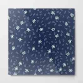 Abstract mini flowers camuflage in deep blue - Indian Floral Collection Metal Print